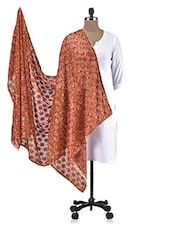 Orange Chiffon Embroidered Dupatta - By