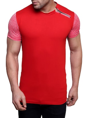 red cotton colour block t-shirt
