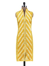 Yellow Cotton Silk Embroidered Semi Stitched Kurti - By