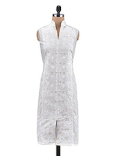White Cotton Embroidered Semi Stitched Kurti - By