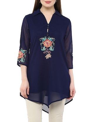 navy blue embroidered georgette regular tunic -  online shopping for Tunics
