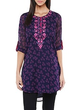 purple embroidered georgette regular tunic -  online shopping for Tunics
