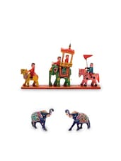 Multicolored Zinc And Wooden Hand Painted Elephant Set - By