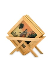 Brown Wooden Painted Tea Coasters And Holder - By - 1310905