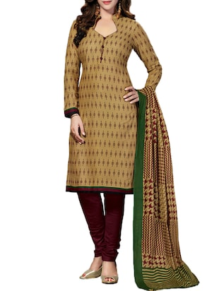 beige unstitched churidaar suit
