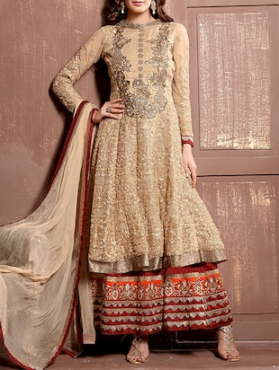 beige embroidered  palazzo suits dress material