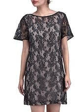 Black Floral Satin Lace Dress - By