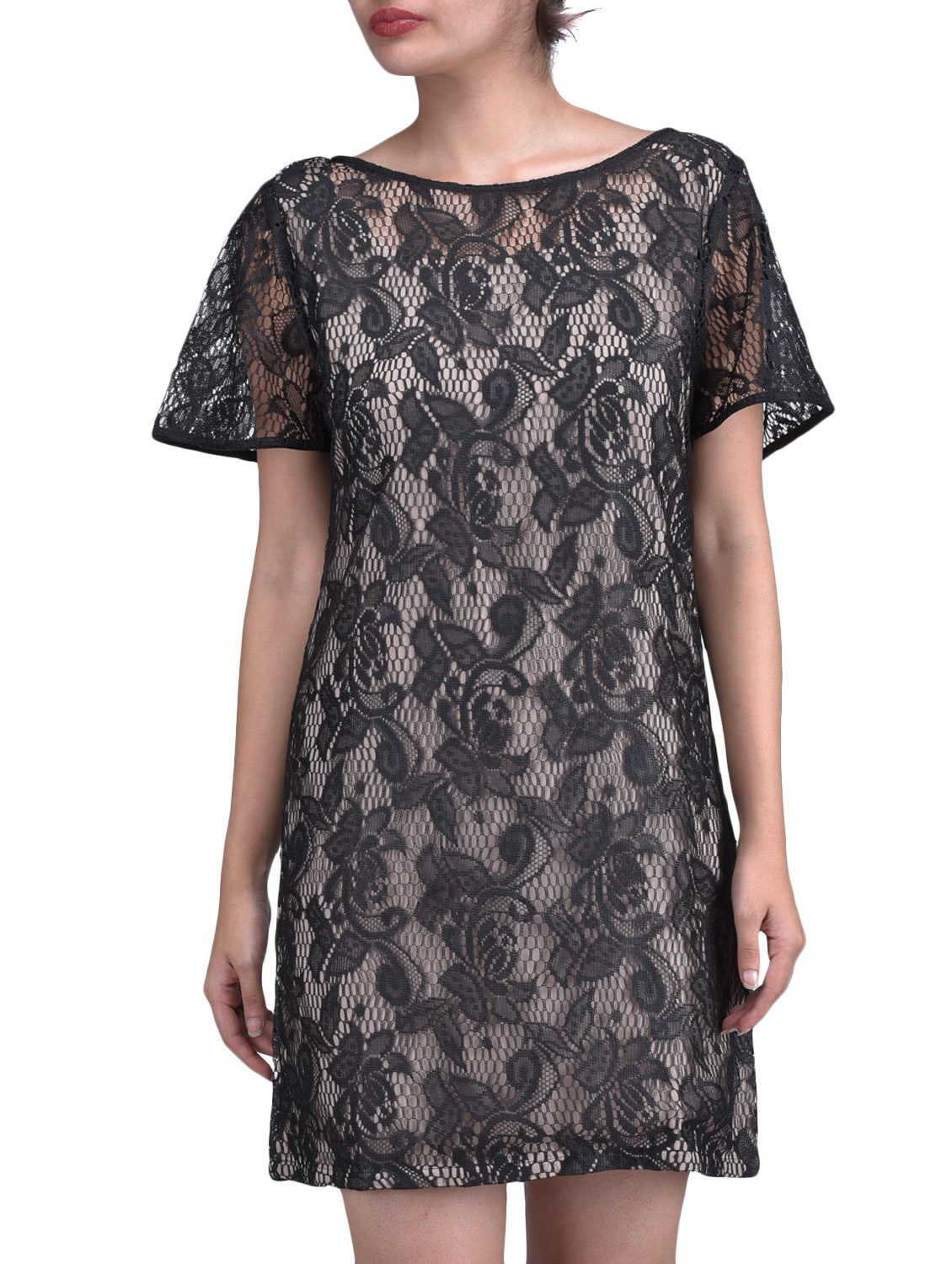 Black Floral Satin Lace Dress - By