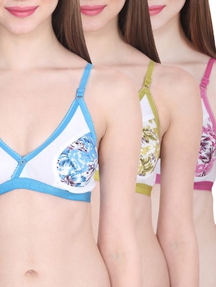 set of 3 multicolored cotton bras -  online shopping for bra
