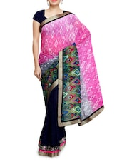 Pink And Navy Blue Printed Georgette Sari - By
