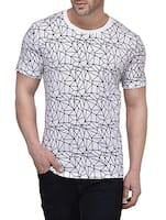 white cotton geometric print t-shirt -  online shopping for T-Shirts