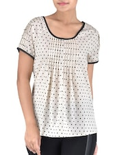 Cream Polyester Polka Dots Print Top - By