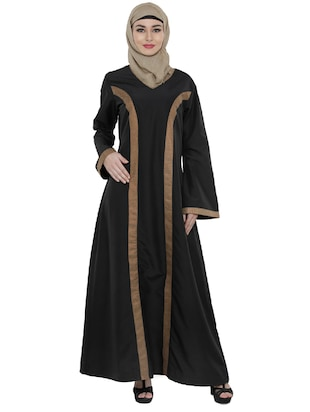 Black full sleeved polyester abaya
