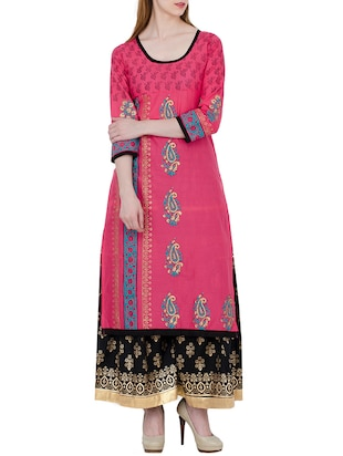 pink cotton block printed straight kurta