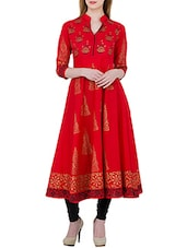 Red Cotton Block Printed Anarkali Kurta - By