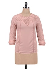 Pink Crepe Solid Long Sleeved Top - By