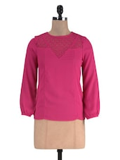 Pink Poly Crepe And Lace Solid Long Sleeved Top - By