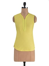 Yellow Cotton Solid Sleeveless Top - By