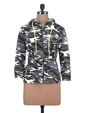Grey Fleece Printed Long Sleeved Jacket - By