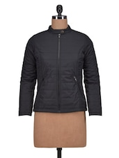 Black Polyester Solid Long Sleeved Jacket - By