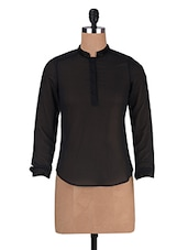 Black Georgette Solid Long Sleeved Top - By