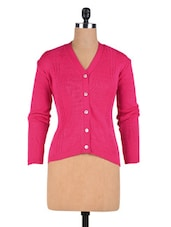 Pink Wool Acrylic Solid Long Sleeved Cardigan - By - 1311895