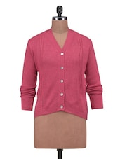 Pink Wool Acrylic Solid Long Sleeved Cardigan - By - 1311897