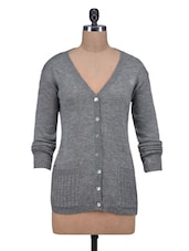 Grey Wool Acrylic Solid Long Sleeved Cardigan - By - 1311925