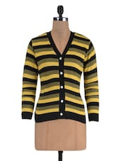 Black Wool Acrylic Striped Long Sleeved Cardigan - By
