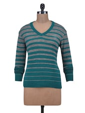 Green Wool Acrylic Striped Long Sleeved Cardigan - By