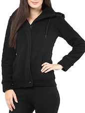Black Hooded Full-sleeved Jacket - By