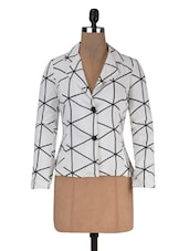 White Poly Crepe Printed Long Sleeved Jacket - By