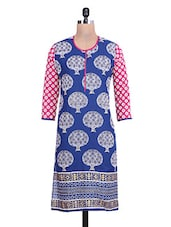Blue Cotton Printed Round Necked Kurti - By