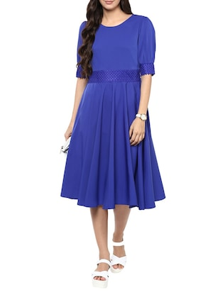 blue crepe fit & flare dress -  online shopping for Dresses