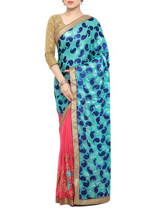 sky blue & pink georgette embroidered half and half saree