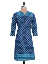 Blue Cotton Polka Dot Printed Kurti - By