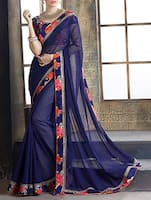 blue georgette bordered saree -  online shopping for Sarees