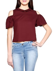 maroon crop top -  online shopping for Tops