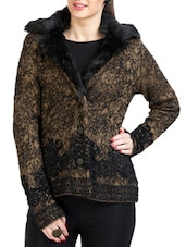 Brown And Black Woolen Fur Coat - By
