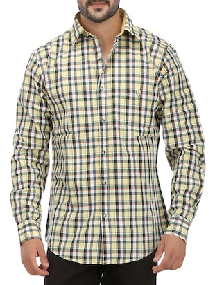 yellow cotton checked casual shirt