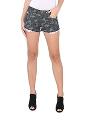 Charcoal Grey Printed Cotton Shorts - By