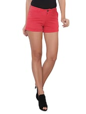 Solid Red Cotton Shorts - By