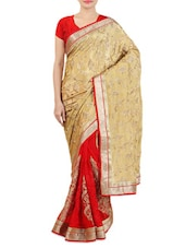 Embroidered Beige And Red Pure Silk Saree - By