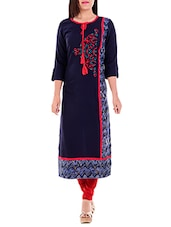 Blue Rayon Embroidered  Straight Kurta - By