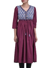 Printed Maroon Cotton Anarkali Kurta - By