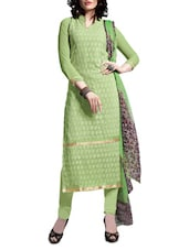 Pista Green Embroidered Suit Set - By