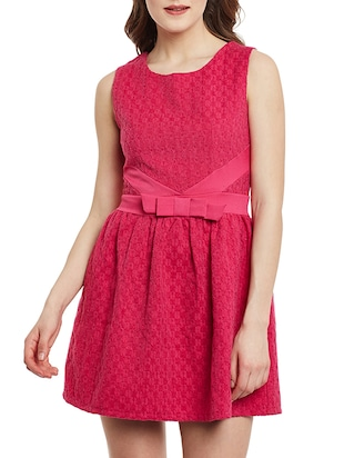 pink cotton skater dress
