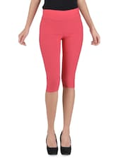Solid Pink Cotton Capri - By