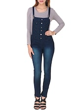 navy blue denim dungree jumpsuit -  online shopping for Jumpsuits
