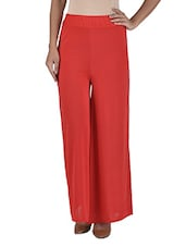 Solid Red Poly Viscose Palazzos - By